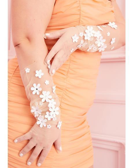Floral Ecstasy Embellished Tulle Gloves