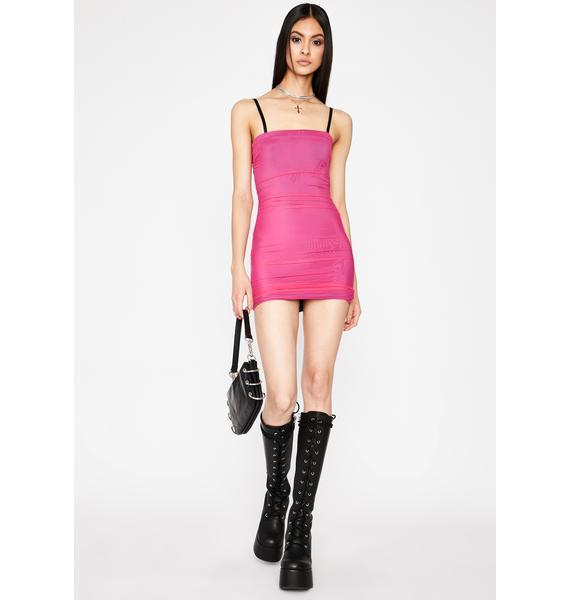 Fuchsia I'm Good Luv Ruched Dress