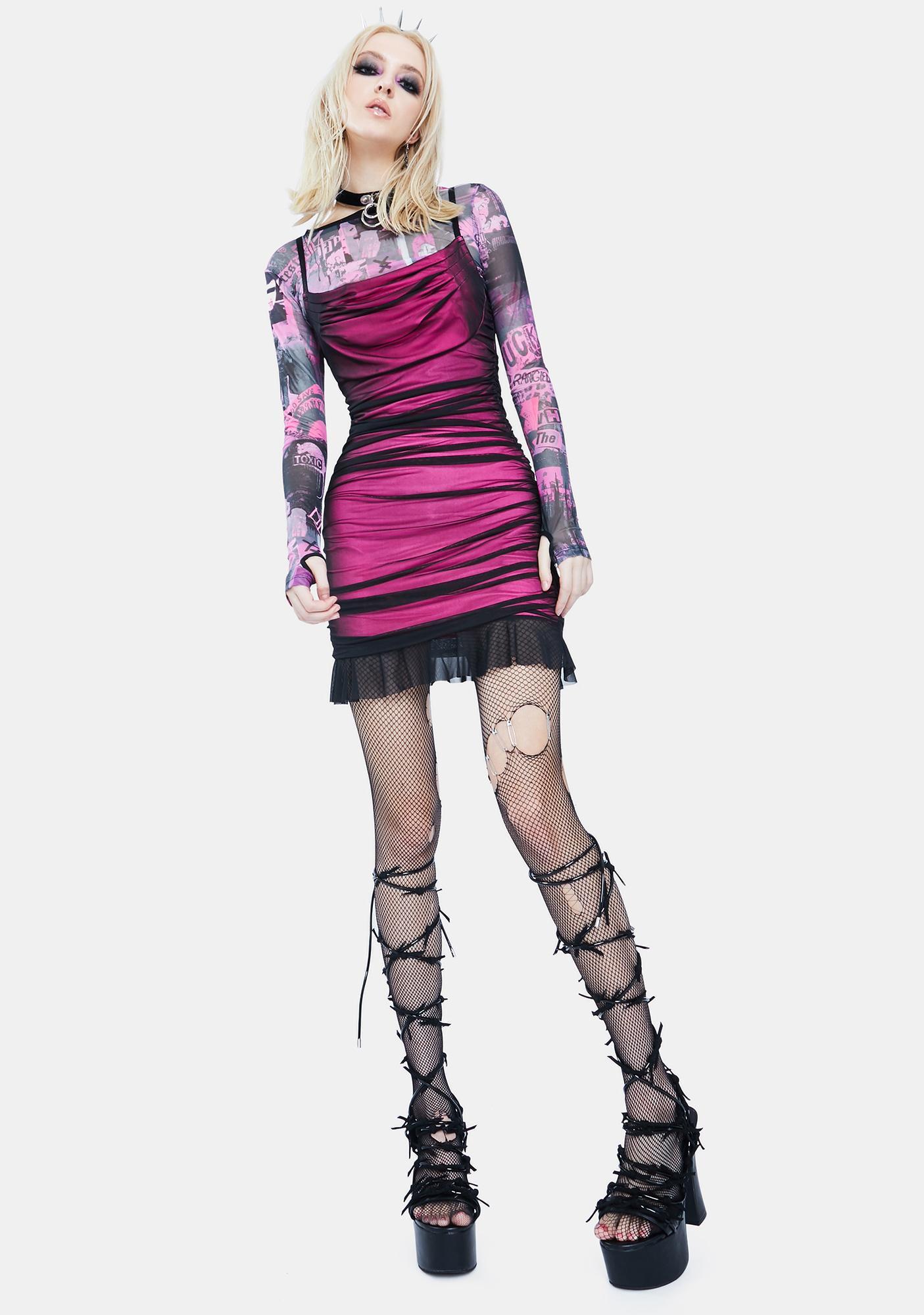Current Mood Rise And Fall Mesh Dress