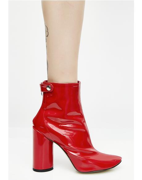Flame Lia Vinyl Stud Strap Boots