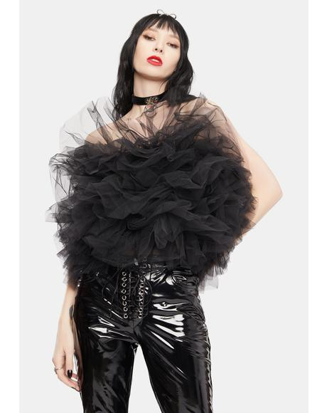 Layered Black Tulle Tube Top