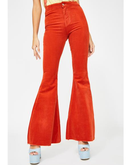Orange Mermaid Flare Corduroy Pants