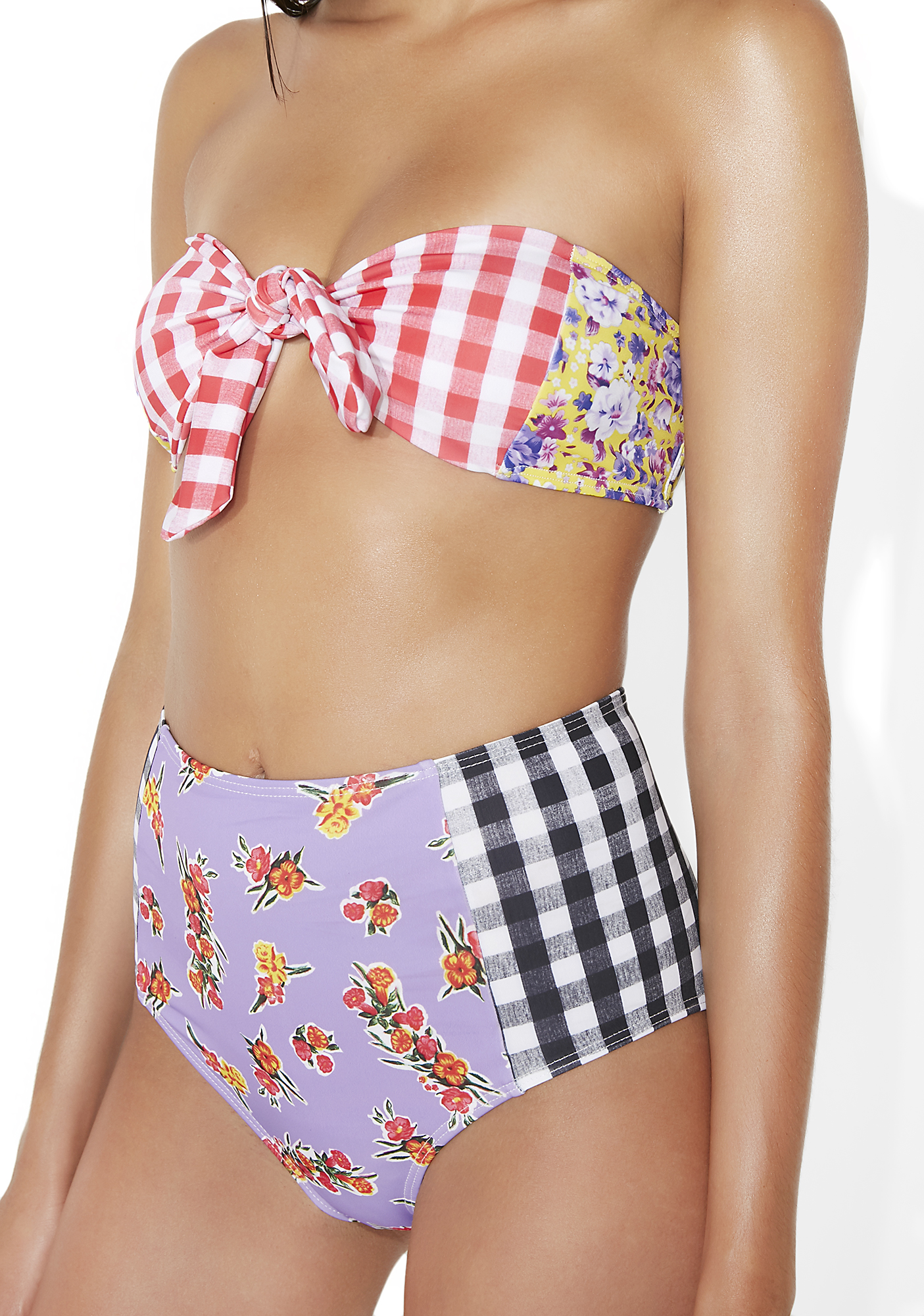 Jaded London Floral Checkered Bikini Bottoms