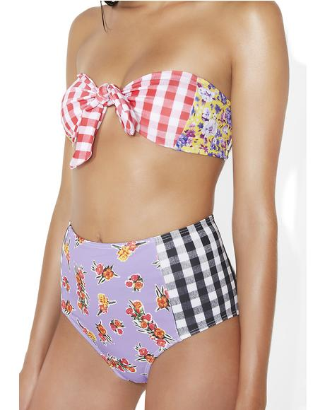 Floral Checkered Bikini Bottoms