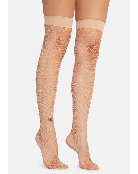 Beige Deadly Kisses Fishnet Thigh Highs