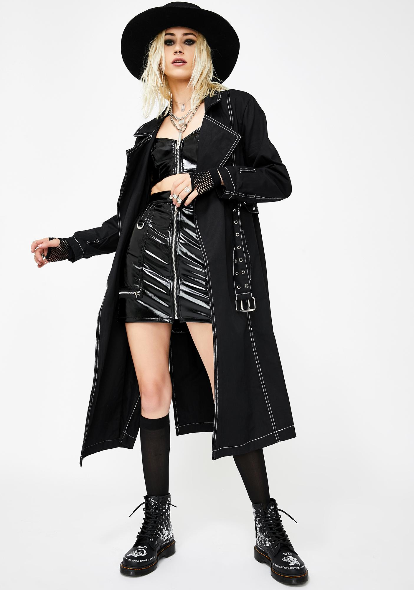 Tripp NYC Vinyl Zip Skirt