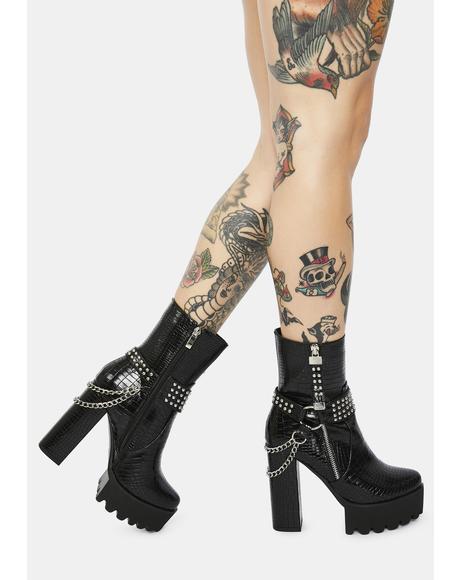 Brax Chain Croc Platform Boots