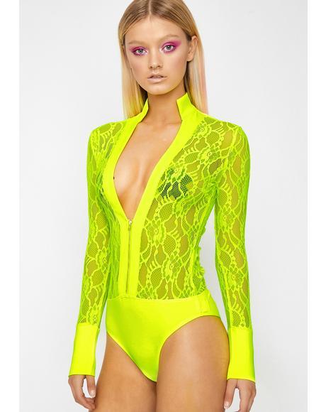 Lime Pixie Romance Lace Bodysuit