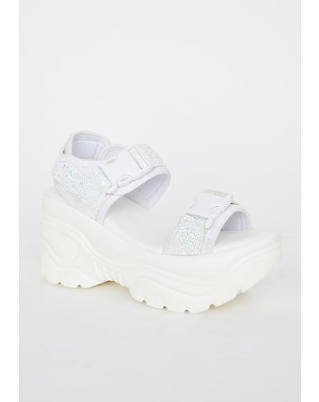 White Oracle Platform Sandals