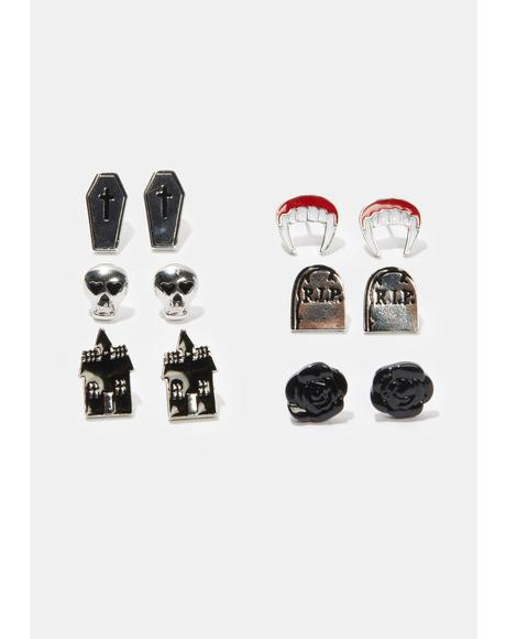 In The Shadows 6 Piece Vampire Earring Set