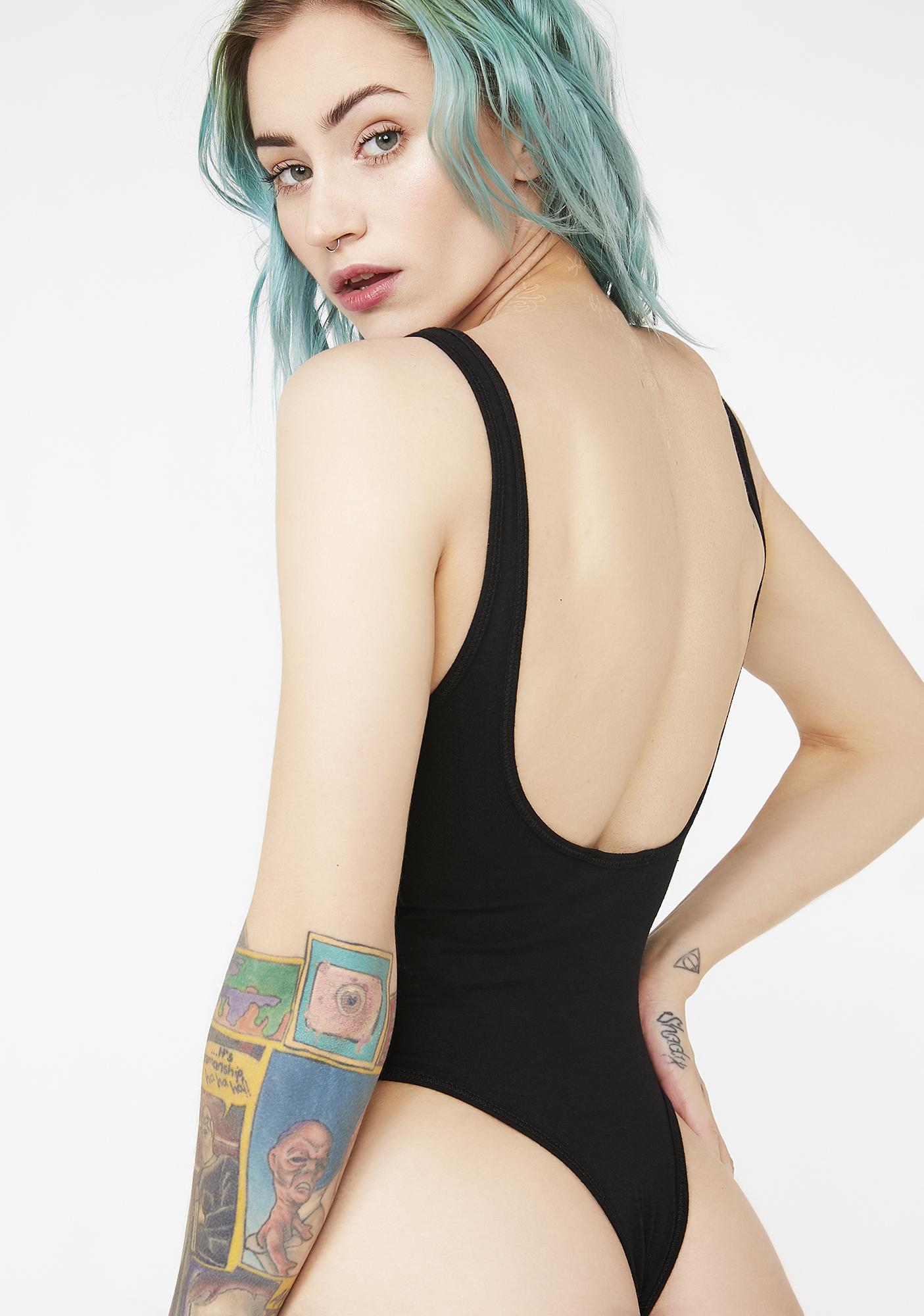 JUICY COUTURE Dark Graphic Scoop Neck Bodysuit