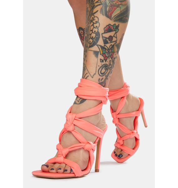 Public Desire Coral Convo Knotted Lace Up Stiletto Heels