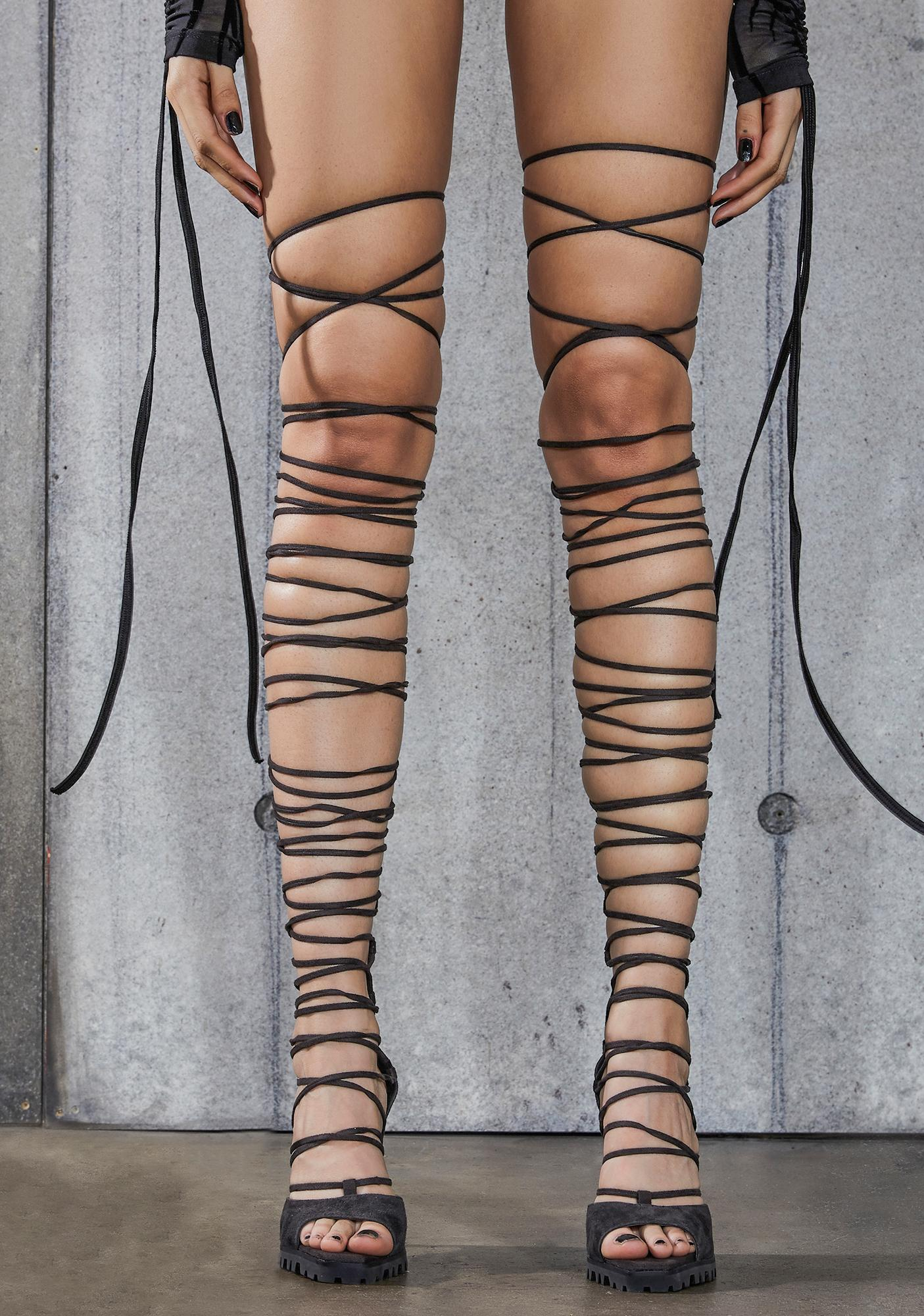 DARKER WAVS Snare Leather Thigh High Wrap Heels