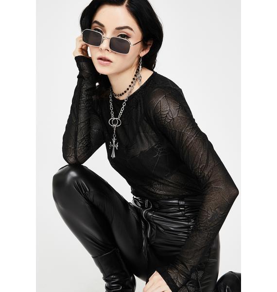 Devil Fashion Sheer Long Sleeve Top