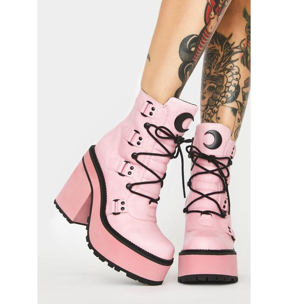 Killstar Pink Broom Rider Boots