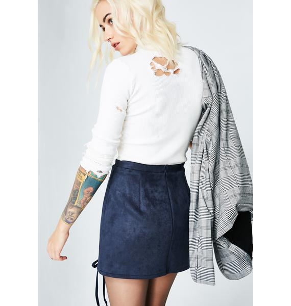 Midnight No Strings Attached Lace Up Skirt