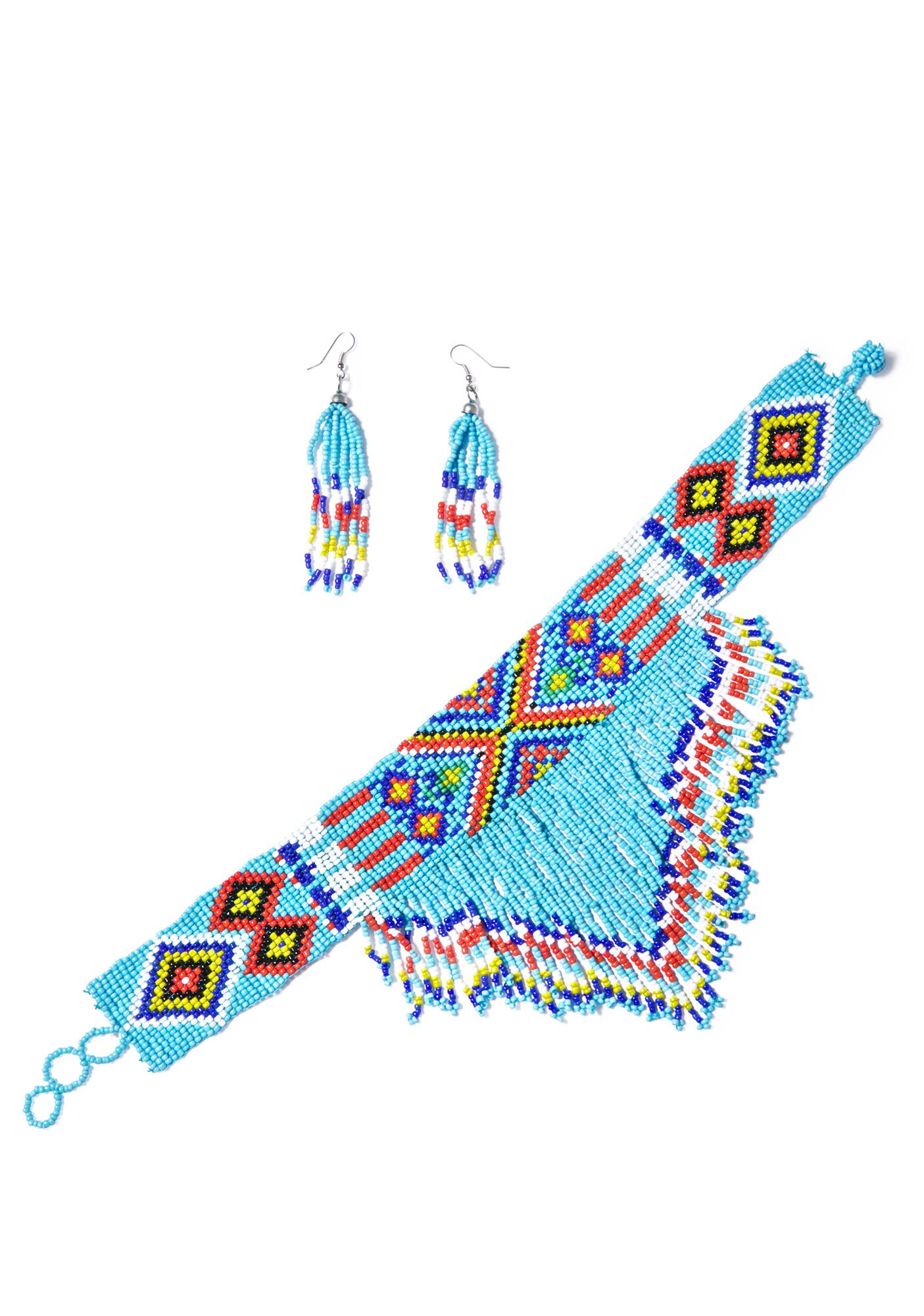 Colors Of The Wind Beaded Choker & Earrings Set