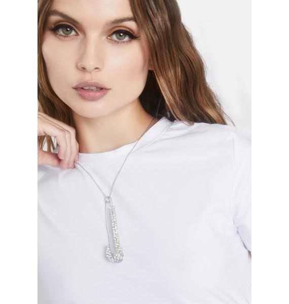 Hardcore Glam Safety Pin Necklace