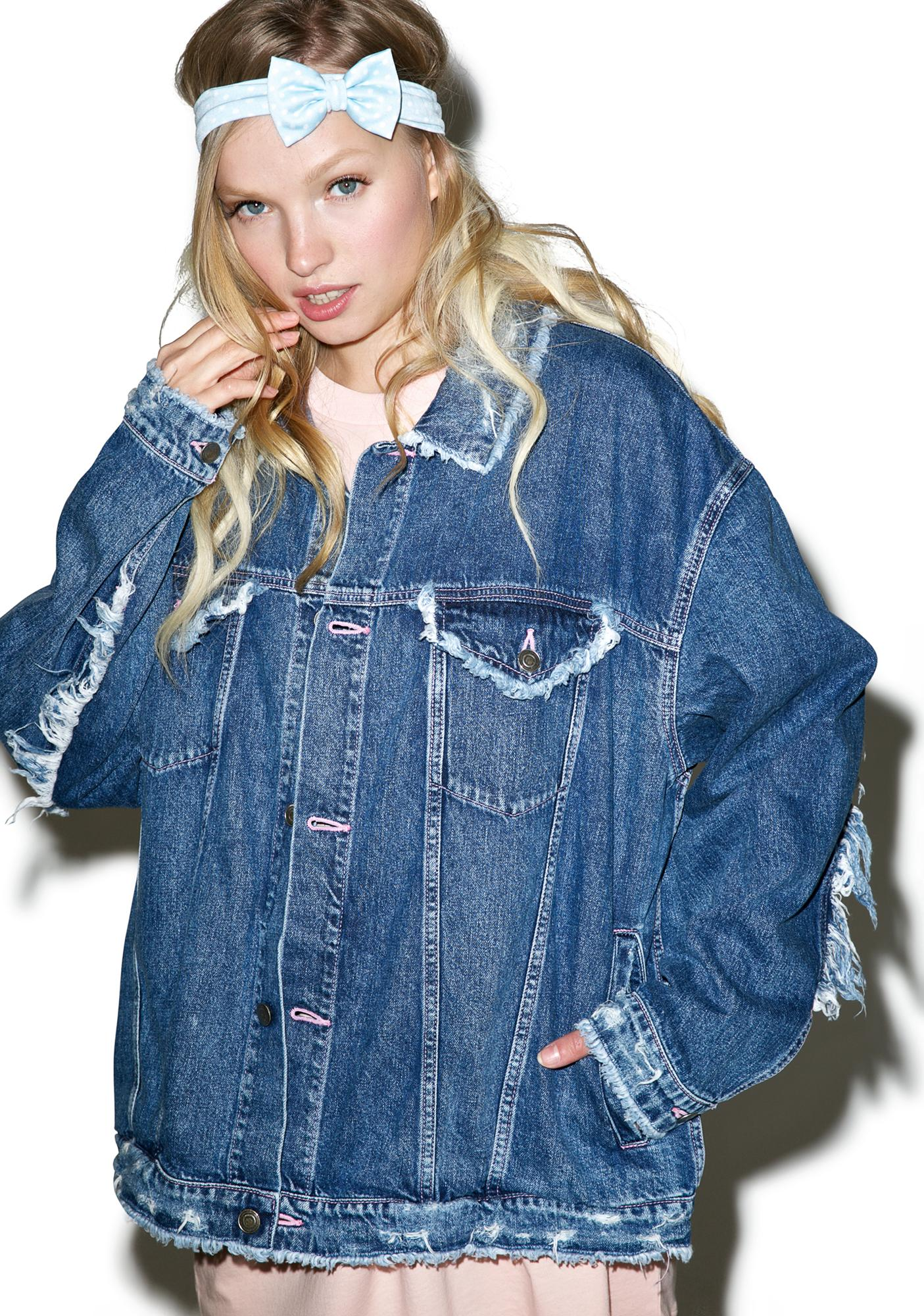 Little Sunny Bite Damaged Denim Jacket | Dolls Kill