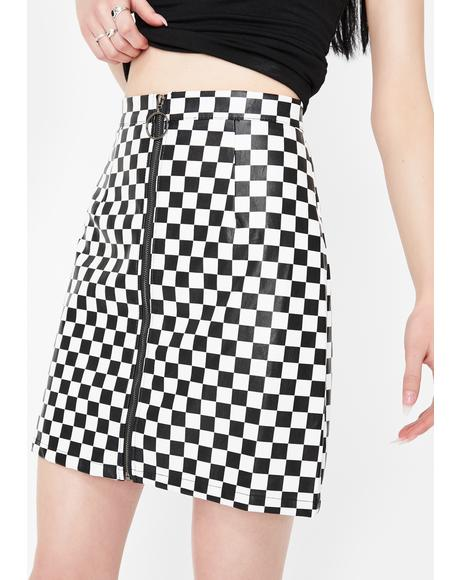 Checkered Vinyl A-Line Mini Skirt