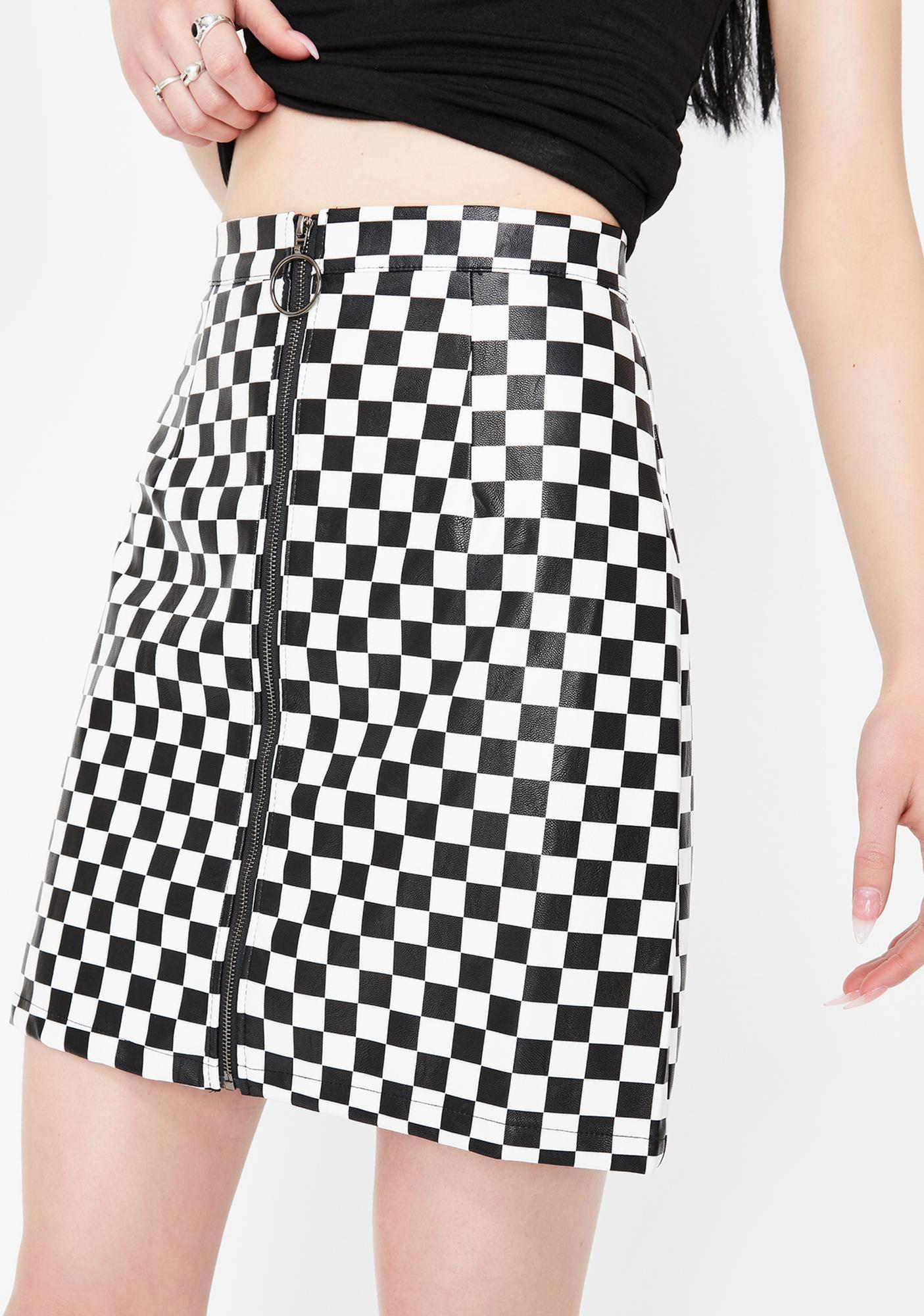 Daisy Street Checkered Vinyl A-Line Mini Skirt