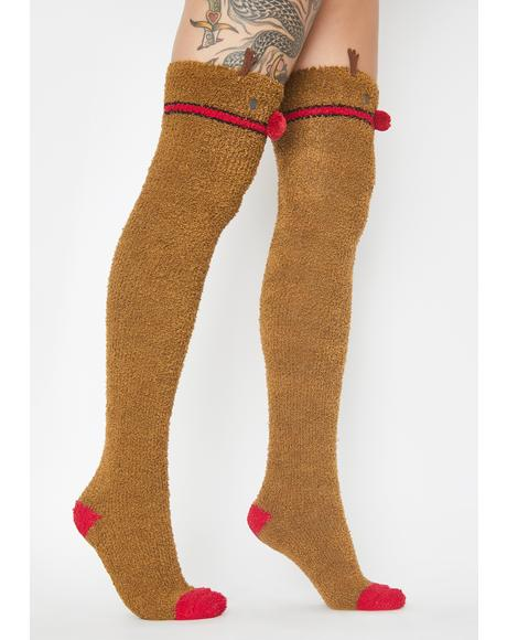Red Nose Reindeer Long Socks