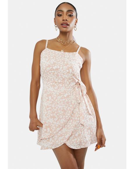 Broken Hearted Floral Wrap Mini Dress