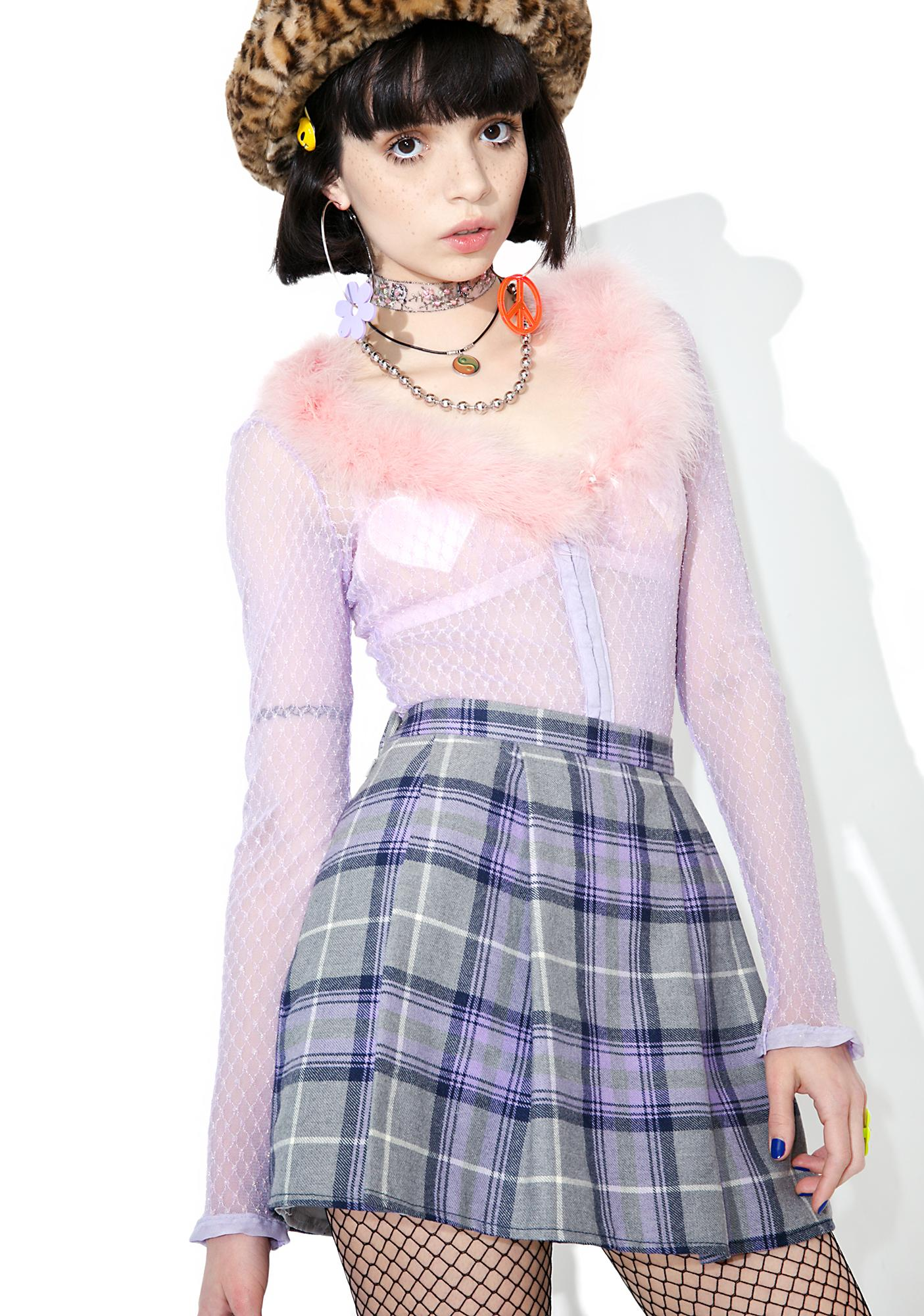 Vintage 90s Purple Plaid Mini Skirt