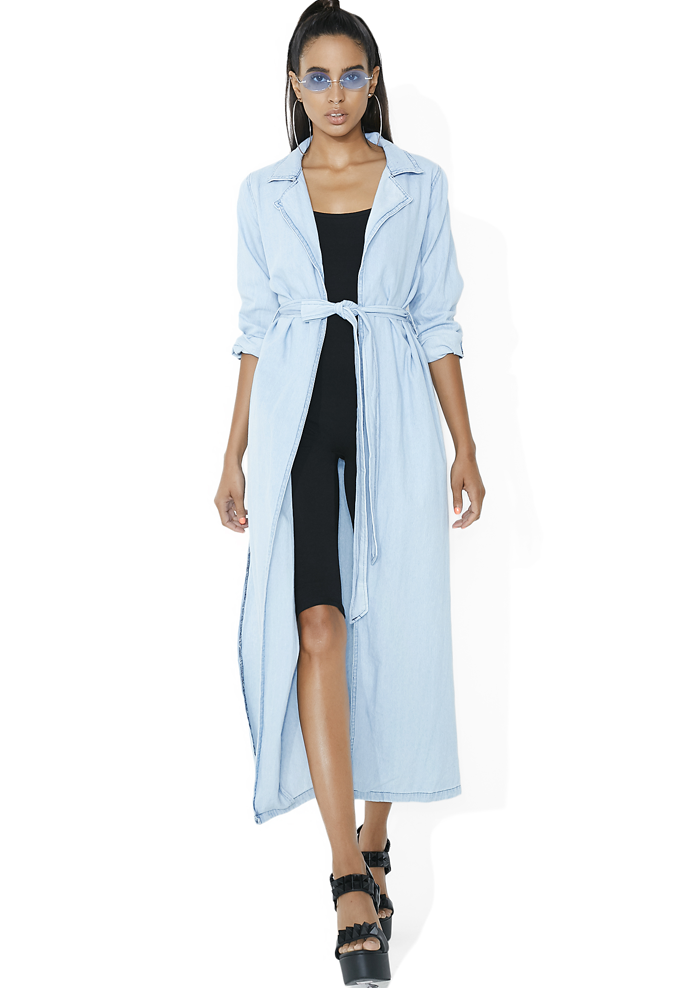 Chambray Tie Blue Trench Coat
