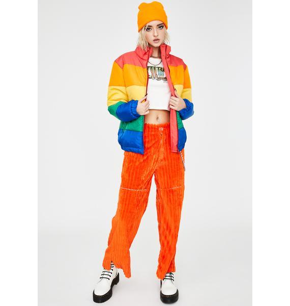 Daisy Street Rainbow Colorblock Puffer Jacket