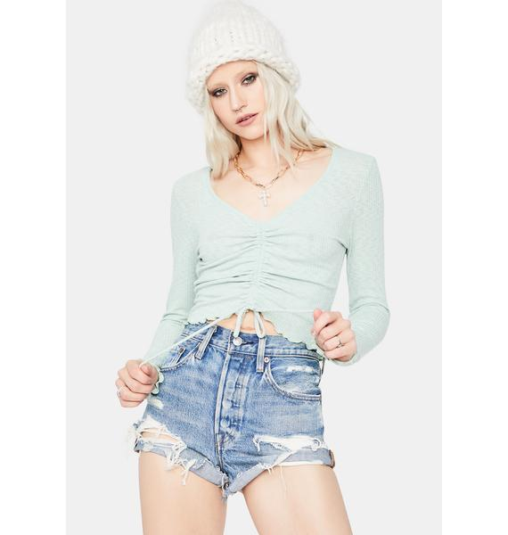 Mint Wastin' Time Front Tie Crop Top
