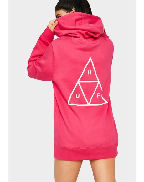 Hot Pink Essentials Triple Triangle Pullover Hoodie