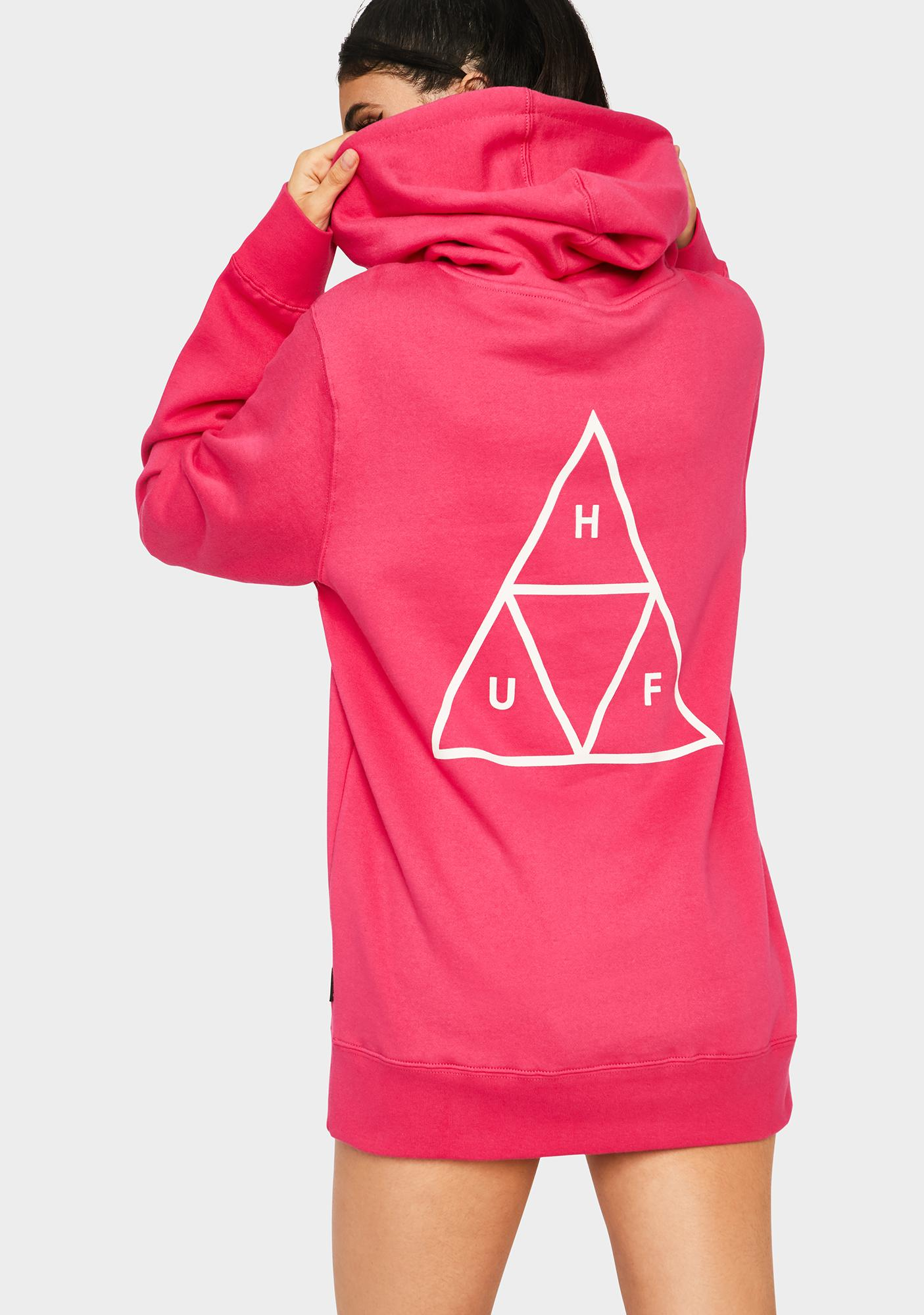 HUF Hot Pink Essentials Triple Triangle Pullover Hoodie