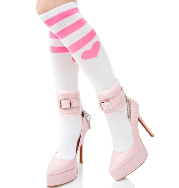 Heart Striped Knee Socks