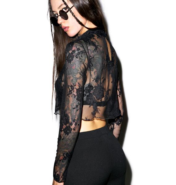 Glamorous Dark Angel Lace Crop Top