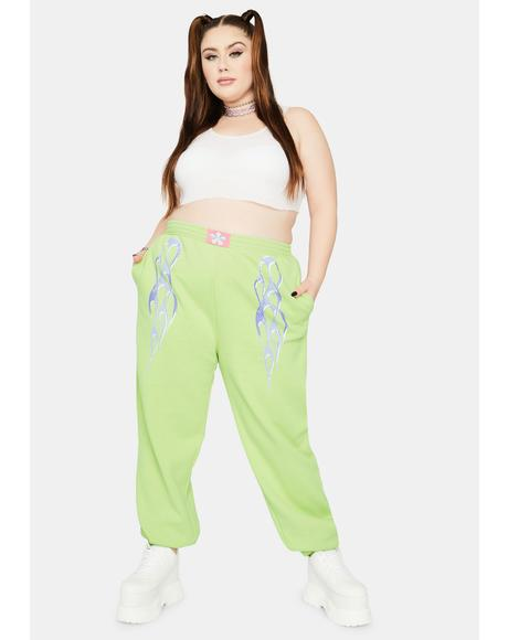 Curve Metallic Flame Sweatpants