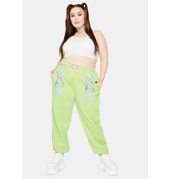 NEW GIRL ORDER Curve Metallic Flame Sweatpants