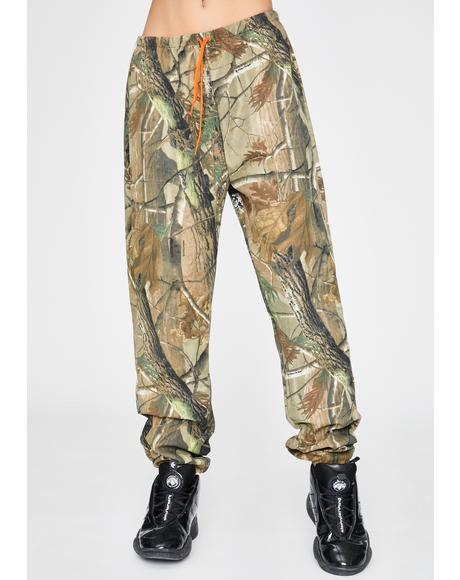 Orange Drawstring Camo Pants