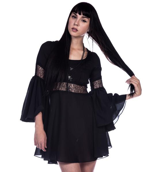 Lip Service Lace Detailed Bell Sleeve Dress
