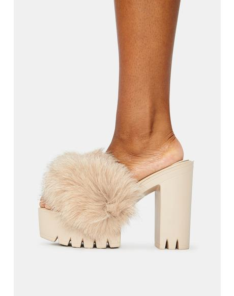 Tan Wine & Dine Fuzzy Heels