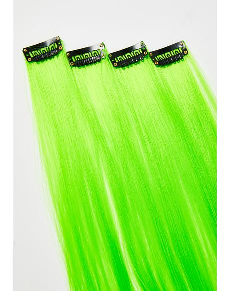Neon Green Clip-In Hair Extensions