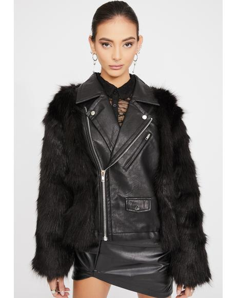 Hendrix Faux Fur Moto Jacket