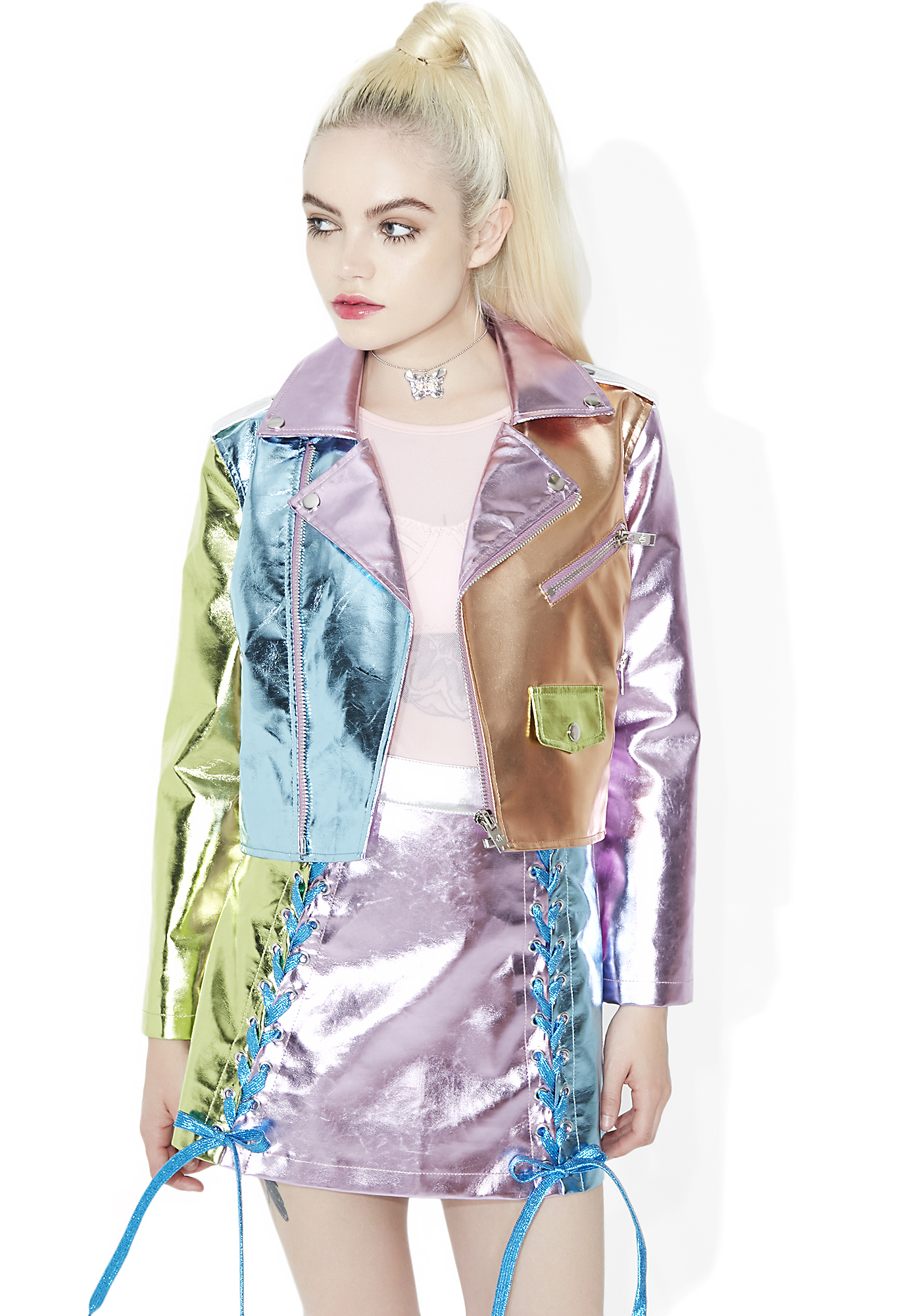 Sugar Thrillz Ballroom Blitz Metallic Moto Jacket