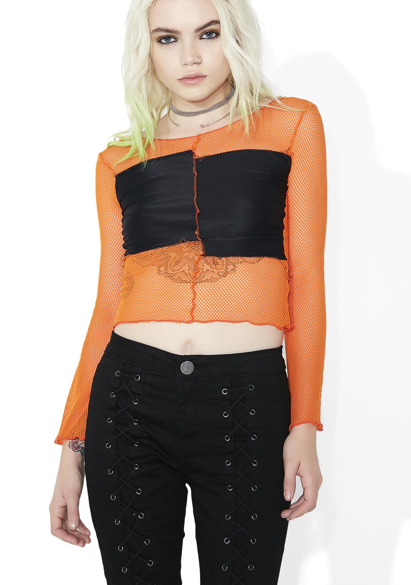 Orange Fishnet Paneled Long Sleeve Top