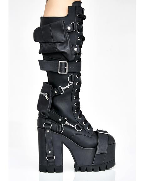 Obsidian Wasteland Buckled Boots