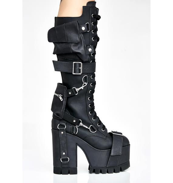 Club Exx Obsidian Wasteland Buckled Boots