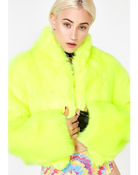 Bee Plush Funk Fur Coat
