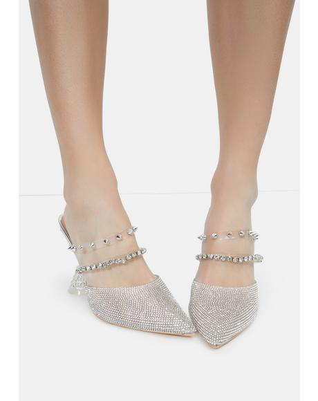 Hilary Rhinestone Mule Heels