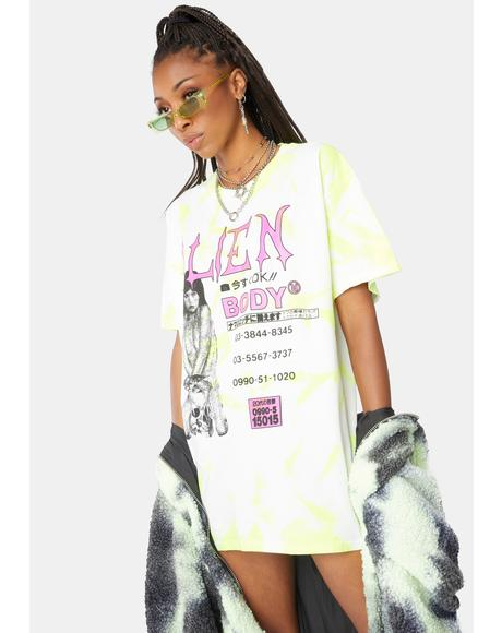 Alien Call Girl Tie Dye Graphic Tee