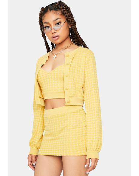 Clueless Thoughts Cardigan Skirt Set